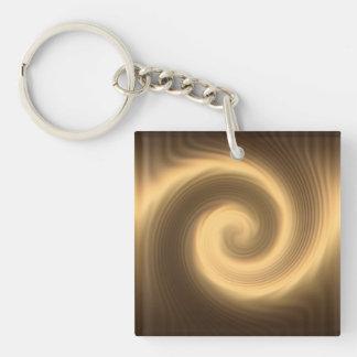 Golden spiral texture key ring