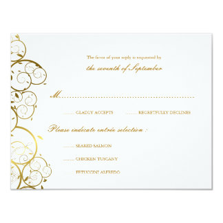 Golden Spirals Classy Chic Wedding RSVP Card Card