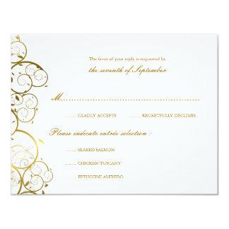 Golden Spirals Classy Chic Wedding RSVP Card Card 11 Cm X 14 Cm Invitation Card