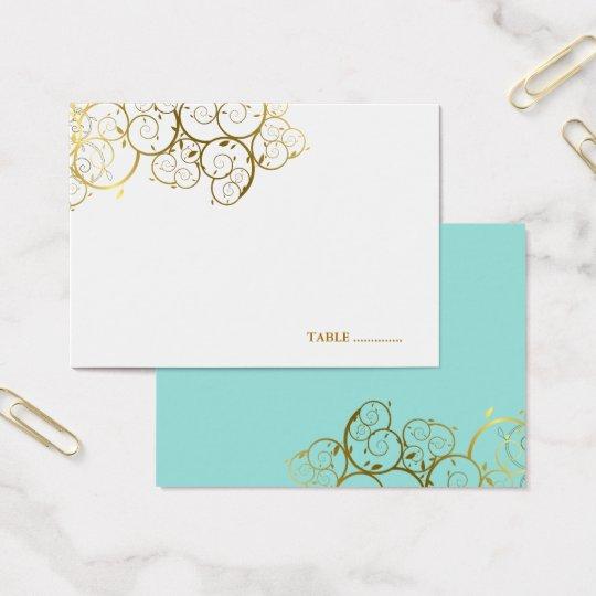 Golden Spirals Wedding Guest Seating Place Card