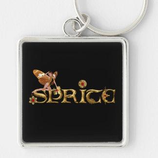 Golden Sprite Fairy Silver-Colored Square Key Ring