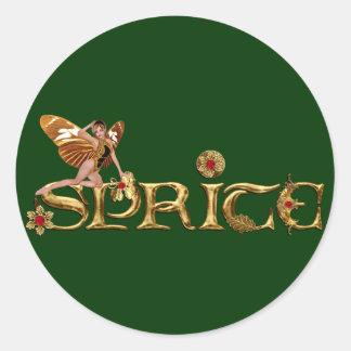 Golden Sprite Fairy Round Sticker
