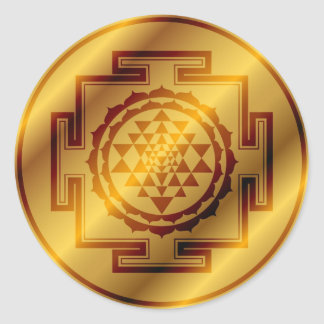 Golden Sri Yantra Classic Round Sticker