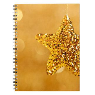 Golden Star Decoration Background Note Book