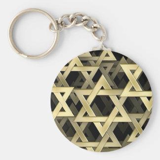 Golden Star Of David Basic Round Button Key Ring