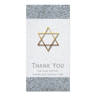 Golden Star of David Stone 1 Sympathy Thank You Photo Card Template