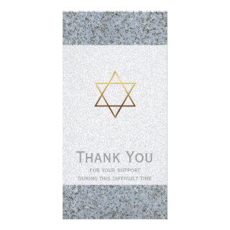 Golden Star of David Stone 2 Sympathy Thank You Card