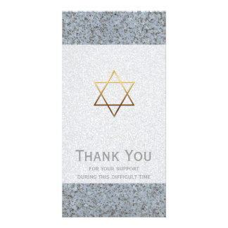 Golden Star of David Stone 2 Sympathy Thank You Customised Photo Card