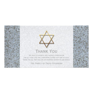 Golden Star of David Stone 3 Sympathy Thank You Photo Cards