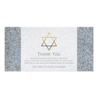 Golden Star of David Stone 4 Sympathy Thank You Personalized Photo Card