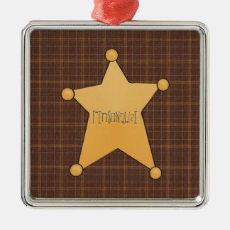 Golden Star Sheriff's Badge Christmas Ornament