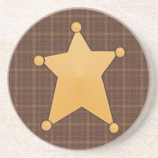 Golden Star Sheriff's Badge Drink Coaster