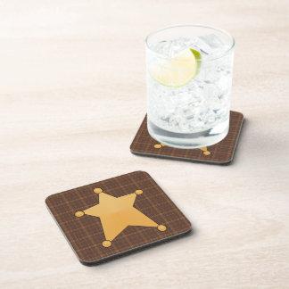Golden Star Sheriff's Badge Beverage Coasters