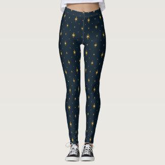 Golden Starlights on Navy Leggings
