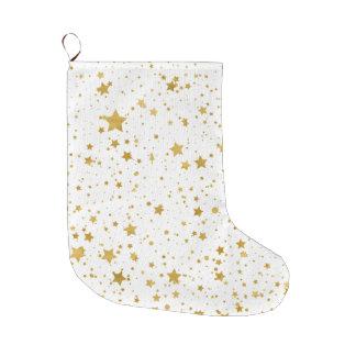 Golden Stars2 -Pure White- Large Christmas Stocking