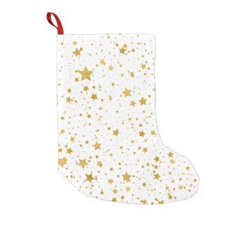 Golden Stars2 -Pure White- Small Christmas Stocking