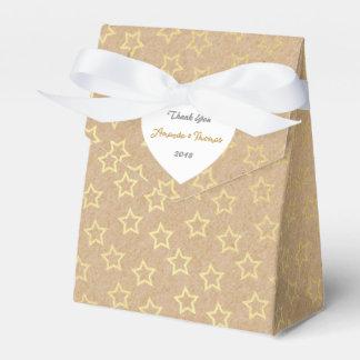 Golden Stars Cardboard Birthday Wedding Favor Favour Box