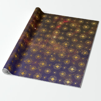 Golden Stars Celestial Galaxy Firmament Wrapping Paper