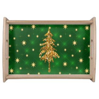 Golden Stars & Christmas Tree Green Serving Tray