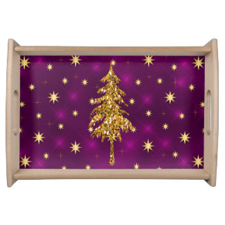 Golden Stars & Christmas Tree Purple Serving Tray