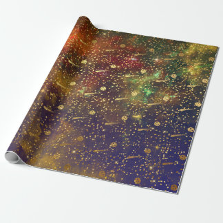 Golden Stars Confetti Celestial Firmament Comets Wrapping Paper