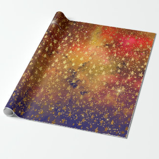 Golden Stars Confetti Celestial Galaxy Firmament Wrapping Paper