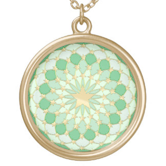 Golden stars expanding circles on pastel green custom necklace