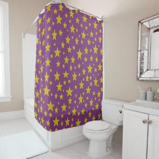 Golden Stars Purple Shower Curtain