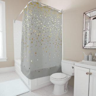 Golden Stars Shower Curtain in Grey