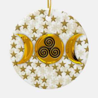 Golden Stars Triple Moon Snowflakes-Triple Spiral Christmas Ornament