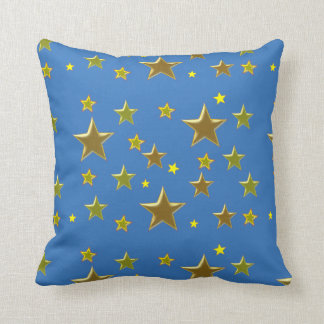 golden stars with blue background cushion