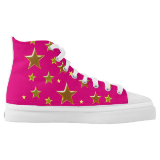 golden stars with pink background printed shoes