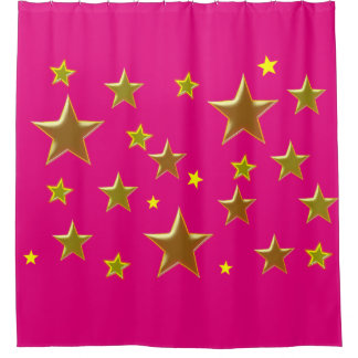 golden stars with pink background shower curtain