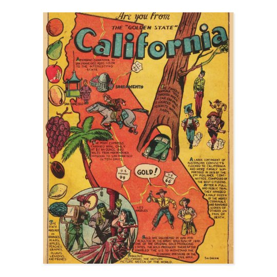 Golden State of California Facts Postcard