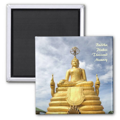Golden statue of Buddha on the hill in Phuket Refrigerator Magnet