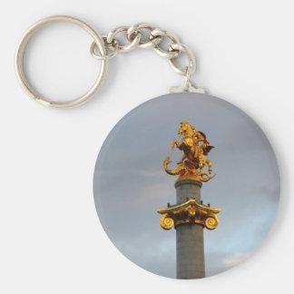 Golden Statue Of Saint George, Republic Of Georgia Basic Round Button Key Ring