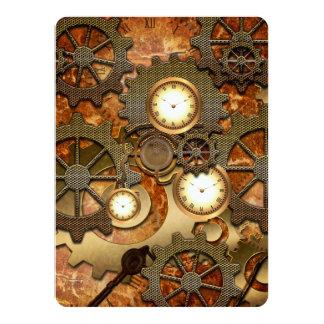 Golden steampunk 14 cm x 19 cm invitation card