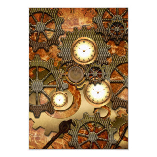 Golden steampunk 9 cm x 13 cm invitation card