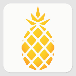 Golden Stencil Hawaiian Pineapple Square Sticker