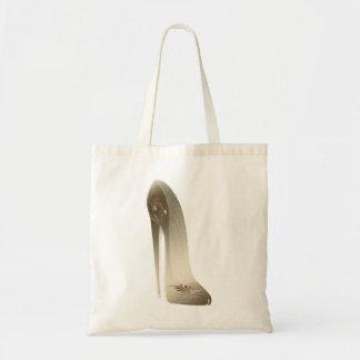 Golden Stiletto High Heel Shoe Art Canvas Bags