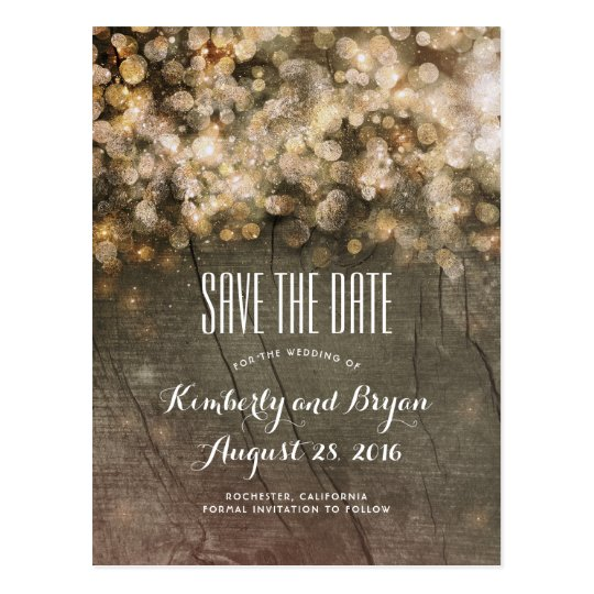 Golden String Lights Rustic Wood Save the Date