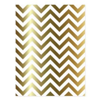 Golden Stripes Chevron Pattern Postcard