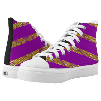 Golden Stripes On Purple Background Printed Shoes