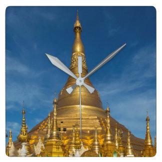 Golden Stupa Temple Square Wall Clock