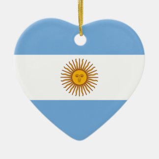 Golden Sun Argentina Flag Heart Shape Decoration