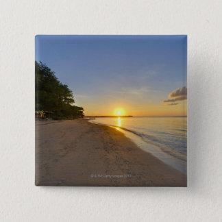Golden Sun Ball Setting Over Tropical Island 15 Cm Square Badge