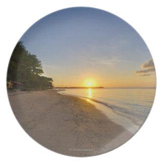 Golden Sun Ball Setting Over Tropical Island Plate
