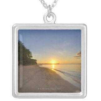 Golden Sun Ball Setting Over Tropical Island Silver Plated Necklace