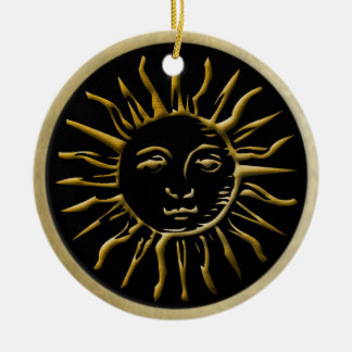 Golden Sun with Gold Frame on Black Christmas Ornament