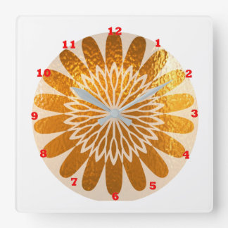 Golden Sunflower ART decoration Square Wall Clock